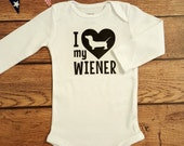 I love My Wiener Dog Shirt- Girls or Boys Dachshund Dog Humor- Baby Shower Gift- Baby Funny shirt for toddler infant- Love my Doxie- #013