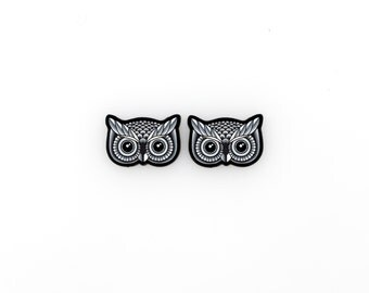 SALE Regularily 12.95 - Black and Grey Owl Earrings