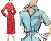 Tailored Shirtdress with Cuffs! Vintage 1940s Simplicity Sewing Pattern 3280, Women's One-Piece Dress, Size 18, Uncut with Factory Folds