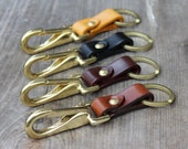 Leather Keychain with horse halter snap hook - groomsmen gift key fob