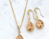 Beautiful Blush Crystal Necklace Set, Blush Teardrops Framed in Gold or Silver, Hanging From French Jeweled Earrings with Matching Necklace