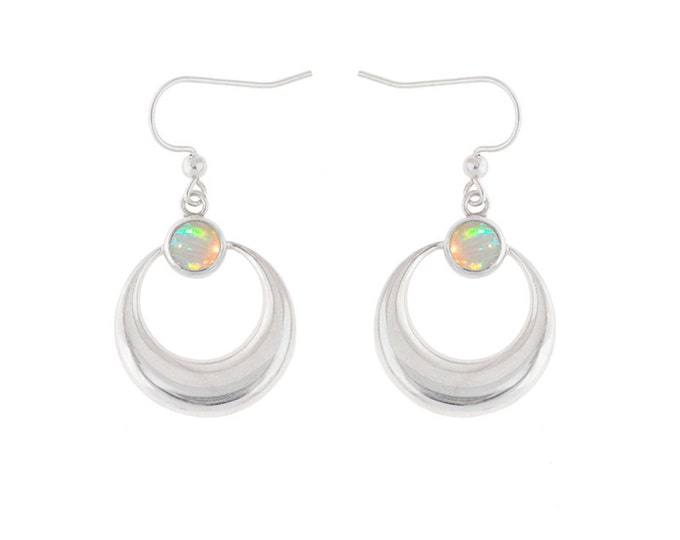 Sterling Silver Crescent Moon Earrings with Opals