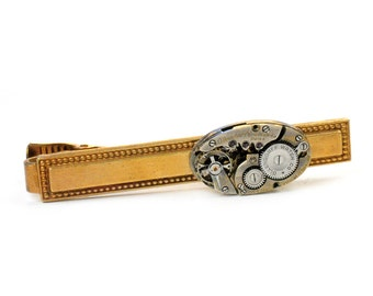 Antique Ollendorff Watch Movement Steampunk Tie Bar Alligator Clip