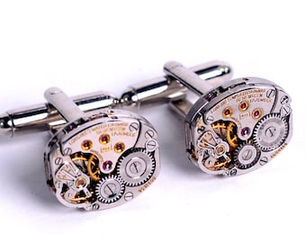Antique 1950's Longines Watch Movement Steampunk Cuff Links