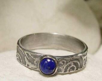 Lapis Lazuli Ring, Handmade Sterling Silver Gemstone Ring, Vintage Style Blue Stone Ring, Artisan Silver Lapis Ring, Lapis Lazuli Jewelry