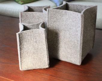 Wool Felt Storage Baskets - Set of 3