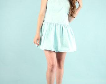 Vintage 80s Guess Mini Dress Tank Jumper Mint Green Denim Overall Skirt sz 9