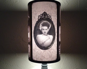 Frankenstein's Bride lamp shade Lampshade - lighting, Halloween decor, Bride of Frankenstein, horror decor, goth decor,damask lamp,old movie