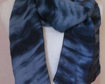 """Dark Indigo Blue Embroidered Rayon Challis Scarf - 11"""" x 100"""""""