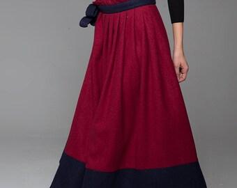 boho wrap skirt, wool skirt,womens maxi skirts,patchwork skirt,red skirt,winter skirt, blue and red, long skirt, custom skirt,gift ideas1429