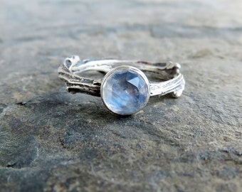 sterling silver moonstone twig ring antiqued tree branch or vine promise ring rose cut - Elvish Wedding Rings