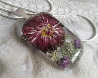 English Daisy,Purple Alyssum,Queen Anne's Lace Pressed Flower Glass Rectangle Pendant-Nature's Wearable Art-Symbolizes Loyal Love,Peace