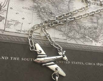 Air Plane Necklace - Travel Necklace - Airplane Necklace