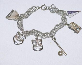 Vintage Beau Sterling Silver Charm Bracelet (BR-3-1)