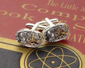 Steampunk cufflinks pinstripe vintage Hamilton watch movement wedding anniversary Gift silver cuff links men jewelry Steampunk Nation
