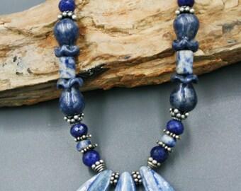 Blue in Dumorterite Blue Sapphire Kyanite Long Necklace