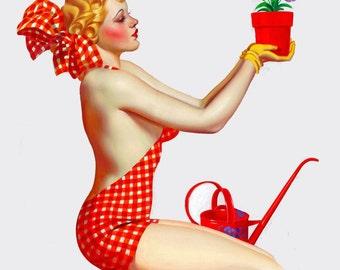 vintage retro mid century pinup girl illustration girlie magazine cover digital download