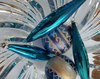 5 Mid Century Blue Mercury Glass Christmas Ornaments Bulbs