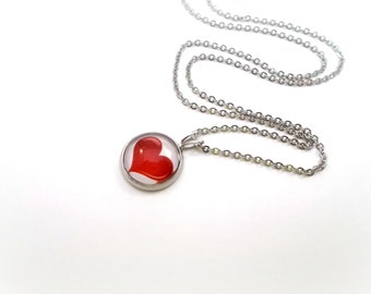 Red Heart Necklace, Red Heart Pendant, Tween Jewelry, 18 inch Necklace, Teen Girl Gifts, Love Necklace, Valentines Day Gift, Simple Heart