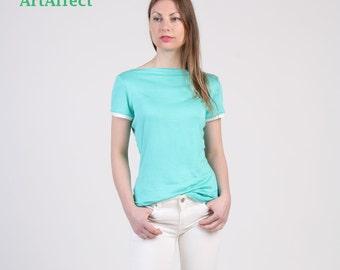 Boatneck T-shirt with Short Sleeve, Color Block T-shirt, Aquamarine Tee, Sleeve Cuff Top, Slim T-Shirt, Tunic Top, Summer Top