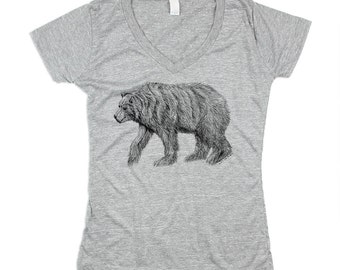 Womens Grey California Bear Tshirt - Bear V-Neck - Triblend - Small, Medium, Large, XL