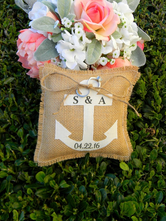 Nautical Beach Ring Bearer Burlap Pillow Anchor Ivory Beach Wedding Ringbearer Pillow Anchor Ring Bearer Destination Wedding Ring Pillow