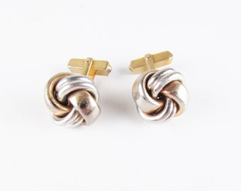 Vintage Swank Knot Cuff Links, Gold and Silver Tone