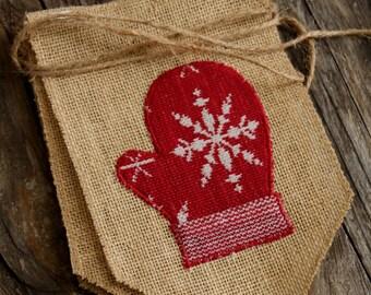 Burlap Banner, Christmas, Red Mittens and White Polka Dot Snow, Natural Burlap, Shabby Chic Decor, Christmas Garland, Snowflake, Winter