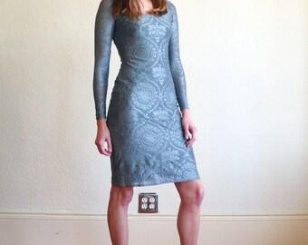 Vintage Lace 1980's Slate Blue Metallic Lace BodyCon Scoop Neck Long Sleeve Mini Dress S