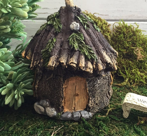 Fairy Garden House, Rustic Stone Wood Look, Fairy Garden Accessory, Home and Garden Decor, Miniature Garden Accent