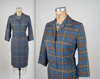 1950s tartan blazer and skirt • vintage 50s suit • plaid office suit