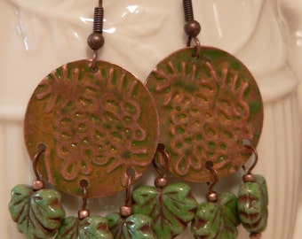 Dangle earrings, Pinecone earring, leaf earrings, copper and glass, embossed metal, czech glass earring, boho earring