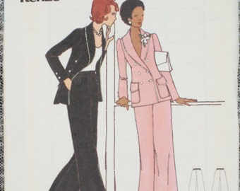 70s Vintage Butterick 3125 Sewing Pattern Kenzo Designer Jacket & Pants 16 Uncut