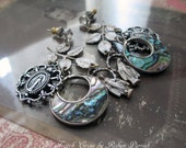 EARRINGS - sterling silver abalone hoop virgin mary medals catholic religious leaf leaves dangle charm, the french circus by robyn parrish