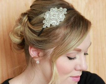 White Beaded Headband, White Rhinestone Studded Applique Headband, Art Deco Wedding Headband