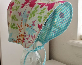 Made to Order Cotton Reversible Butterfly Forest Sun Bonnet, Sizes Newborn - 18-24 Months