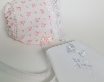 Pink Floral Baby Bonnet and Bandana Bib Set 6205 - Size Premie