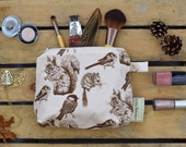 Medium Make Up Bag in Squirrel, Bird & Mouse Pattern, illustrated, designed and handmade in Yorkshire, England