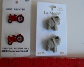 Shank buttons ELEPHANT and TRACTOR carded JHB and La Mode