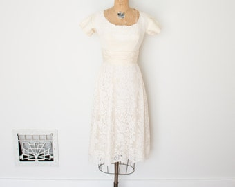 Vintage 1960s Dress - 60s Lace Wedding Dress - The Gina