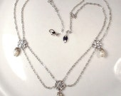 STUNNING Vintage Pearl & Rhinestone Silver Bridal Necklace, Romantic Wedding Jewelry Ethereal, Art Deco 1920s Edwardian Downton Abbey Gatsby