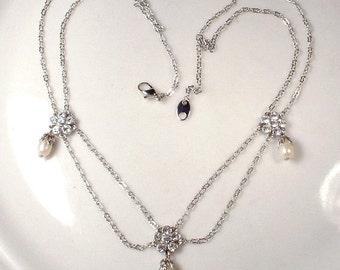 STUNNING Vintage Pearl & Rhinestone Silver Bridal Necklace, Romantic Wedding Jewelry Ethereal, Art Deco 1920s Edwardian Downton Abbey Gatsby