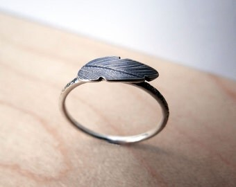 Feather Stacking Ring in Sterling Silver