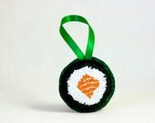 Ready to Ship! Sushi Salmon Roll Christmas Ornament. Punchneedle. Food Art. Orange, White Green. Gift for Foodie