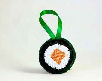 Sushi Salmon Roll Christmas Ornament. Punchneedle. Food Art. Orange, White Green. Gift for Foodie