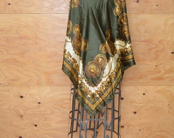 Vintage Scarf Or Shawl Extra Large Green & Gold Paisley Print Silky Sheen