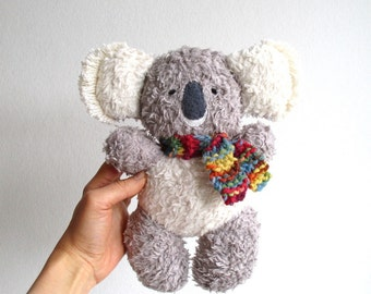 Koala bear, organic teddy bear, plush, soft, eco friendly, grey, gray, white, baby, toddler, child birthday gift
