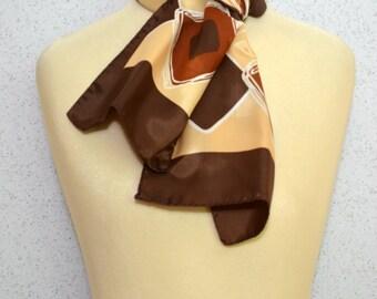 Long vintage scarf: Geometric diamonds retro brown