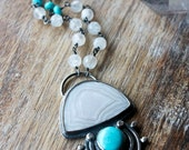 Laguna Agate, Sleeping Beauty Turquoise, Natural Turquoise Sterling Silver Necklace, Jellyfish Necklace... The Loveliest Cnidarian...