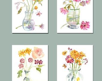 Bedroom Print Set 4, Bedroom Art, 4 Flower Art Prints, Bedroom Watercolors, Bouquet, Bathroom Wall Art, Flower Paintings, Bathroom Decor